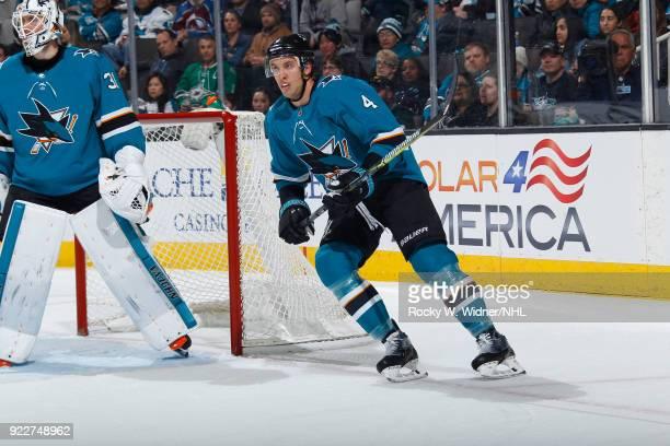 Brenden Dillon of the San Jose Sharks skates against the Dallas Stars at SAP Center on February 18 2018 in San Jose California