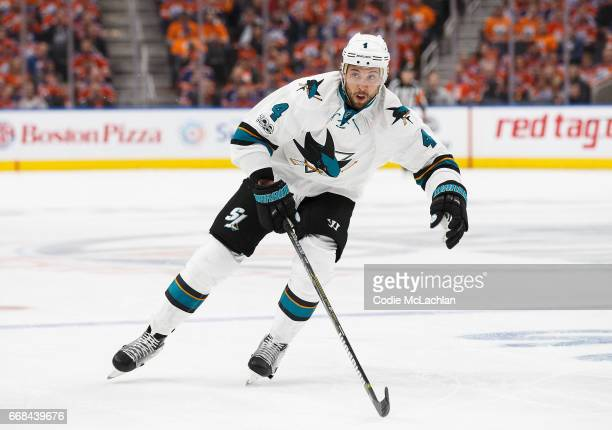 Brenden Dillon of the San Jose Sharks skates against the Edmonton Oilers in Game One of the Western Conference First Round during the 2017 NHL...