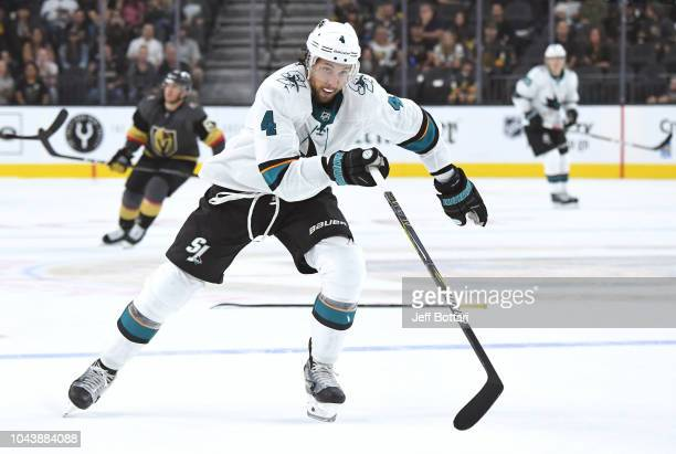 Brenden Dillon of the San Jose Sharks skates against the Vegas Golden Knights during a preseason game at TMobile Arena on September 30 2018 in Las...