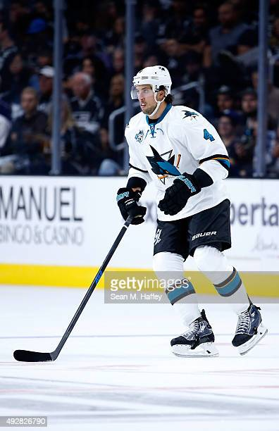 Brenden Dillon of the San Jose Sharks skates during a game against the San Jose Sharks at Staples Center on October 7 2015 in Los Angeles California