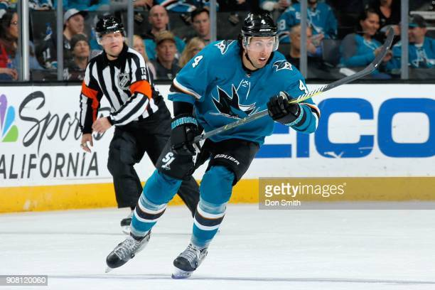 Brenden Dillon of the San Jose Sharks skates during a NHL game against the Pittsburgh Penguins at SAP Center on January 20 2018 in San Jose California