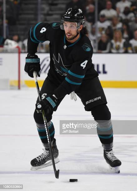 Brenden Dillon of the San Jose Sharks skates during the first period against the Vegas Golden Knights at TMobile Arena on January 10 2019 in Las...