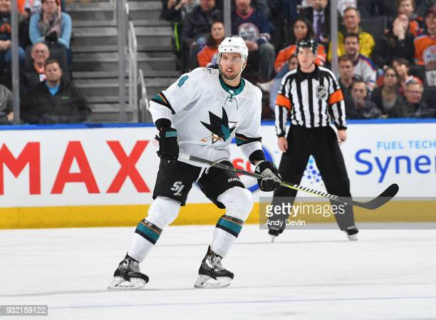 Brenden Dillon of the San Jose Sharks skates during the game against the Edmonton Oilers on March 14 2018 at Rogers Place in Edmonton Alberta Canada