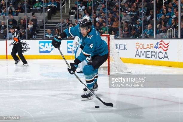 Brenden Dillon of the San Jose Sharks skates with the puck against the Dallas Stars at SAP Center on February 18 2018 in San Jose California