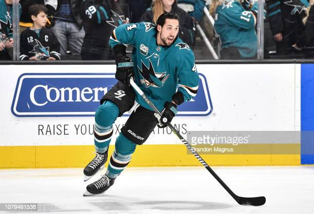 Brenden Dillon of the San Jose Sharks skating during warmups against the Edmonton Oilers at SAP Center on January 8 2018 in San Jose California