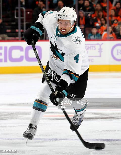 Brenden Dillon of the San Jose Sharks takes a shot in the third period against the Philadelphia Flyers at Wells Fargo Center on November 28 2017 in...
