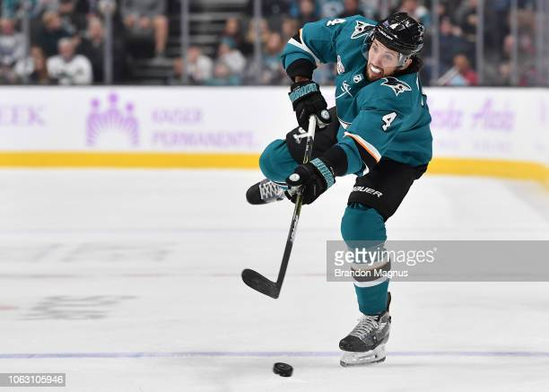 Brenden Dillon of the San Jose Sharks takes a shot on goal against the St Louis Blues at SAP Center on November 17 2018 in San Jose California