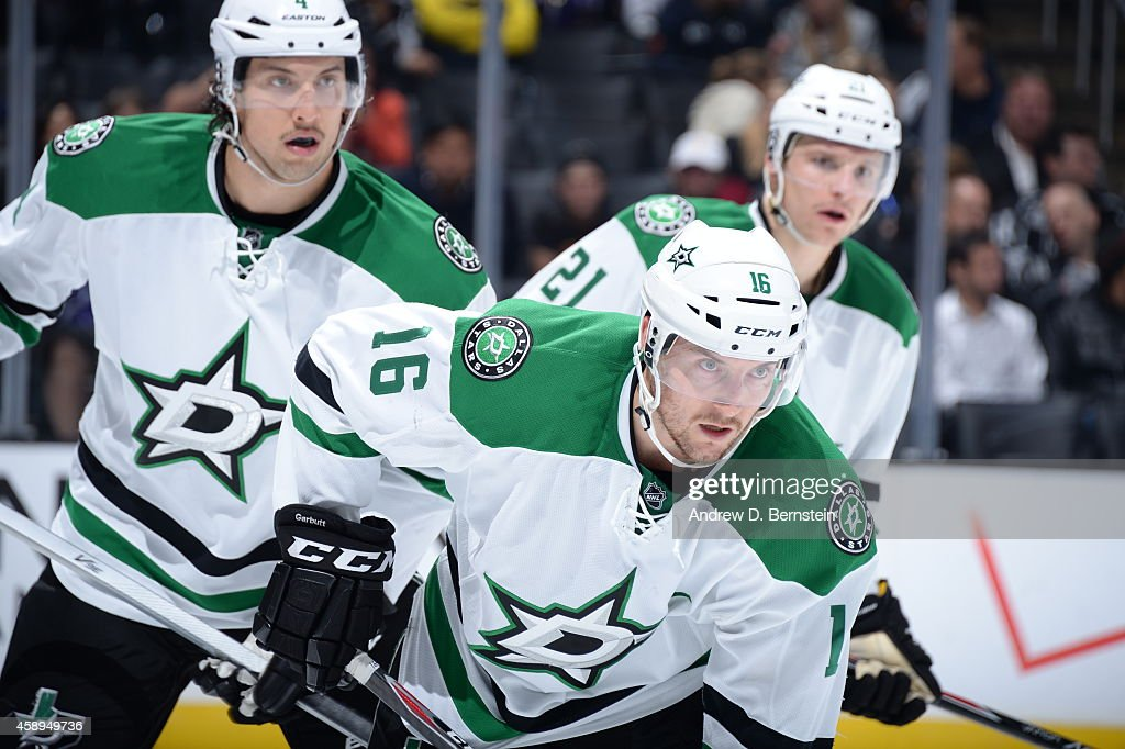 Brenden Dillon #4, Ryan Garbutt #16, and Antoine Roussel #21 of the Dallas Stars prepare for a face-off during a game against the Los Angeles Kings at STAPLES Center on November 13, 2014 in Los Angeles, California.