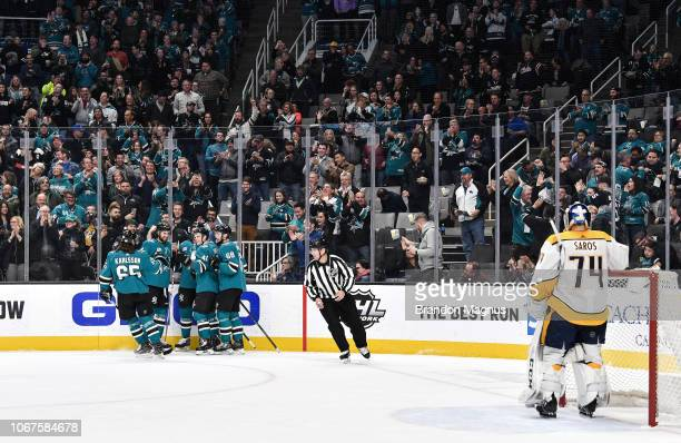 Brenden Dillon Tomas Hertl Antti Suomela and Melker Karlsson of the San Jose Sharks celebrate scoring a goal against the Nashville Predators at SAP...