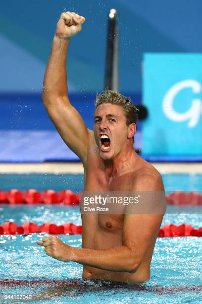 Brenden Hall of Australia celebrates victory in the Men's S9 100m Backstroke Final on day six of the Gold Coast 2018 Commonwealth Games at Optus...