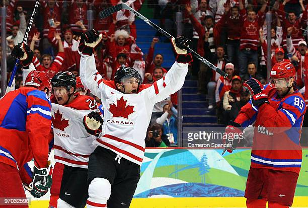 Brenden Morrow of Canada celebrates after his team first period goal during the ice hockey men's quarter final game between Russia and Canada on day...