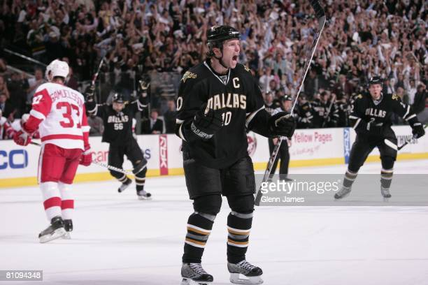 Brenden Morrow of the Dallas Stars celebrates a goal against the Detroit Red Wings during game four of the Western Conference Finals of the 2008 NHL...