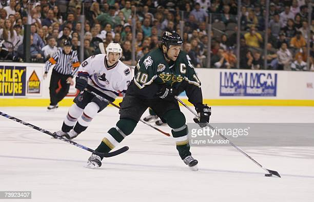 Brenden Morrow of the Dallas Stars skates with the puck against the Vancouver Canucks during game three of the 2007 NHL Western Conference...