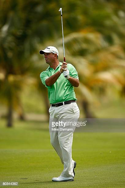 Brenden Pappas hits his approach shot on the 9th hole during the third round of the Puerto Rico Open presented by Banco Popular held on March 22 2008...