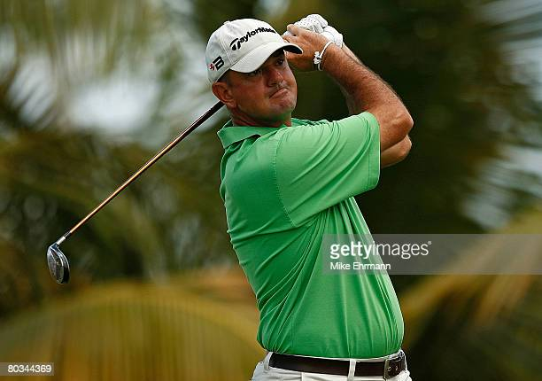 Brenden Pappas hits his tee shot on the 10th hole during the third round of the Puerto Rico Open presented by Banco Popular held on March 22 2008 at...