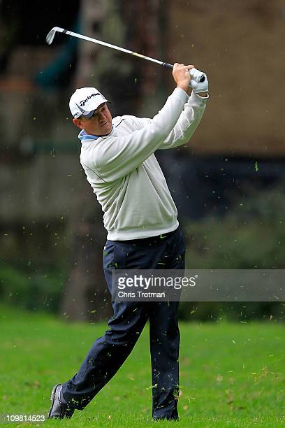 Brenden Pappas of South Africa hits his approach to the second green during the final round of the weather shortened Pacific Rubiales Bogota Open...