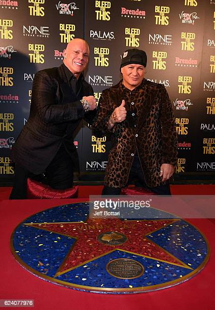 Brenden Theatre Corp President and CEO Johnny Brenden and former boxer Vinny Paz attend the Las Vegas screening of the film Bleed for This at the...