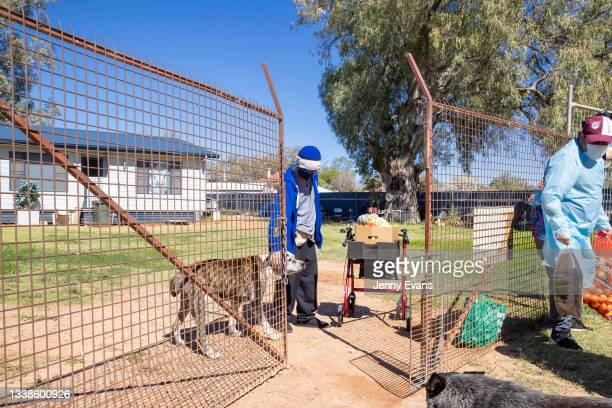 Brendon Adams distributes food to the community on September 06, 2021 in Wilcannia, Australia. After hearing locals in isolation were struggling...
