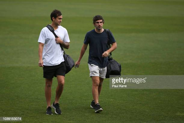 Brendon Ah Chee and Andrew Gaff arrive for training during a West Coast Eagles AFL training session at Subiaco Oval on September 24 2018 in Perth...
