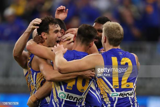 Brendon Ah Chee of the Eagles celebrates a goal during the round 13 AFL match between the West Coast Eagles and the Greater Western Sydney Giants at...