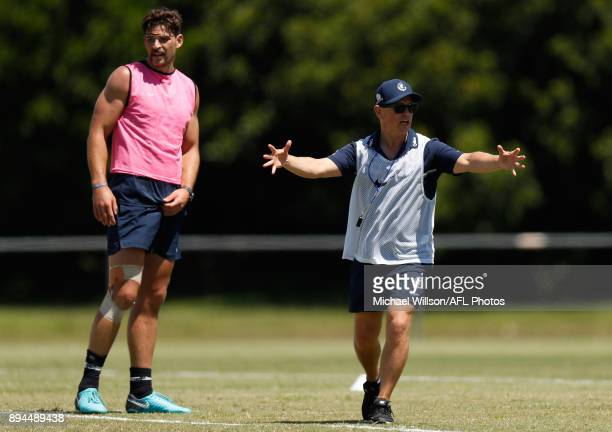 Brendon Bolton Senior Coach of the Blues in action during the Carlton Blues AFL preseason training session at Maroochydore Multisport Complex on...