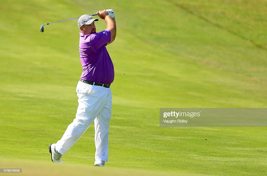 Brendon de Jonge of Zimbabwe takes his second shot on the 16th fairway during the third round of the RBC Canadian Open at Glen Abbey Golf Club on July 23, 2016 in Oakville, Canada.