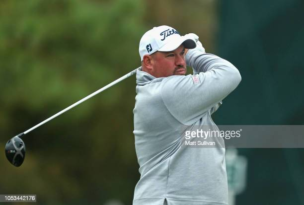 Brendon De Jonge of Zimbabwe watches his tee shot on the sixth hole during the first round of the Sanderson Farms Championship at the Country Club of...