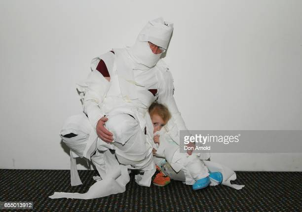 Brendon Fox and Heather Fox pose at Powerhouse Museum on March 19 2017 in Sydney Australia A total of 846 people wrapped themselves in toilet paper...