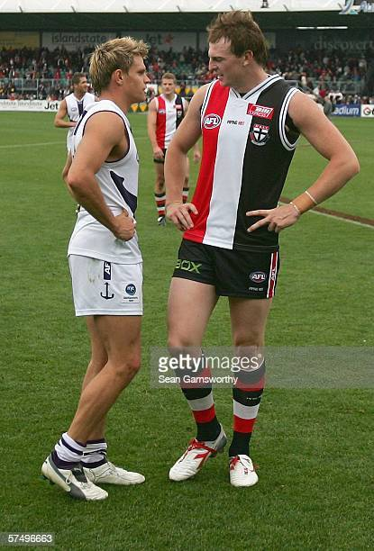 Brendon Goddard for St Kilda and Byron Schammer for Fremantle discuss the result of the round five AFL match between the St Kilda Saints and the...