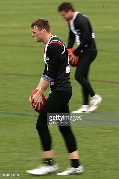 Brendon Goddard lines up for goal during a St Kilda Saints AFL training session at Linen House Oval on September 28 2010 in Melbourne Australia