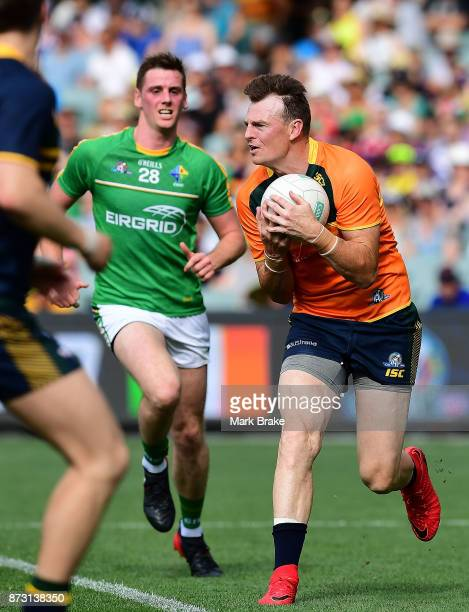 Brendon Goddard of Australia save during game one of the International Rules Series between Australia and Ireland at Adelaide Oval on November 12...