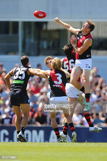 Brendon Goddard of the Bombers goes third man up in the ruck during the 2016 AFL NAB Challenge match between Carlton and Essendon at Ikon Park on...