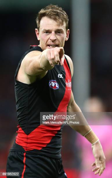 Brendon Goddard of the Bombers in action during the round 11 AFL match between the Greater Western Sydney Giants and the Essendon Bombers at Spotless...
