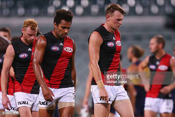Brendon Goddard of the Bombers leads the team off after their defeat during the NAB Challenge AFL match between the West Coast Eagles and the...