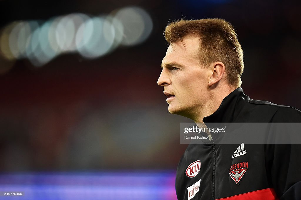 Brendon Goddard of the Bombers looks on prior to the round three AFL match between the Port Adelaide Power and the Essendon Bombers at Adelaide Oval on April 8, 2016 in Adelaide, Australia.
