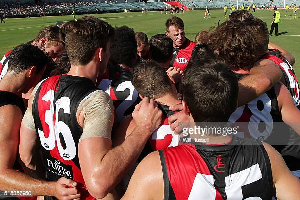 Brendon Goddard of the Bombers speaks to the huddle at the start of the game during the 2016 NAB Challenge match between the West Coast Eagles and...