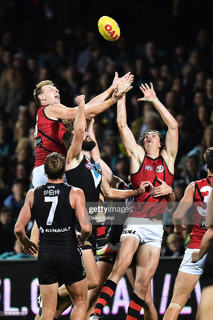Brendon Goddard of the Bombers takes a mark during the round three AFL match between the Port Adelaide Power and the Essendon Bombers at Adelaide Oval on April 8, 2016 in Adelaide, Australia.