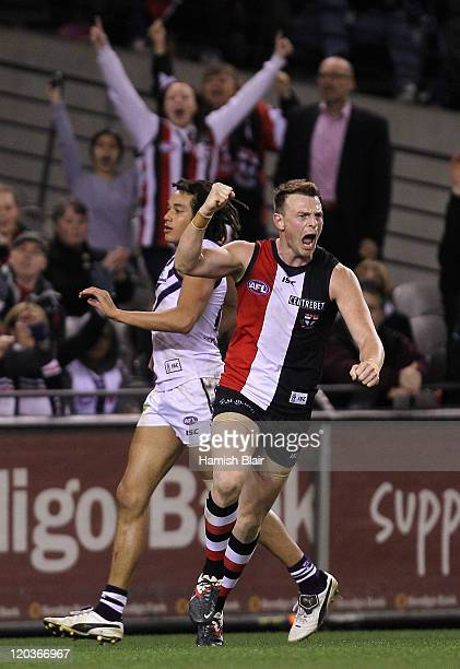 Brendon Goddard of the Saints celebrates a goal during the round 20 AFL match between the St Kilda Saints and the Fremantle Dockers at Etihad Stadium...