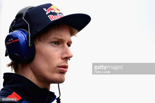 Brendon Hartley of New Zealand and Scuderia Toro Rosso looks on from the pit wall during day four of F1 Winter Testing at Circuit de Catalunya on...