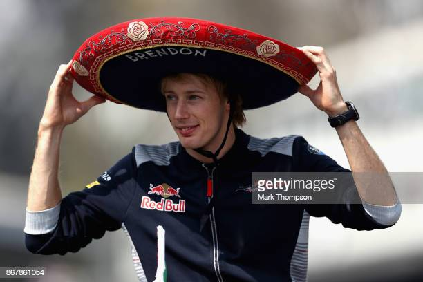 Brendon Hartley of New Zealand and Scuderia Toro Rosso on the drivers parade before the Formula One Grand Prix of Mexico at Autodromo Hermanos...
