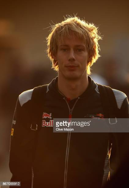 Brendon Hartley of New Zealand and Scuderia Toro Rosso walks in the Paddock before` practice for the Formula One Grand Prix of Mexico at Autodromo...