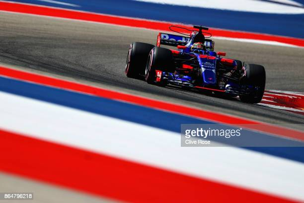 Brendon Hartley of New Zealand driving the Scuderia Toro Rosso STR12 on track during final practice for the United States Formula One Grand Prix at...