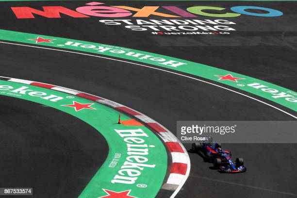 Brendon Hartley of New Zealand driving the Scuderia Toro Rosso STR12 on track during qualifying for the Formula One Grand Prix of Mexico at Autodromo...