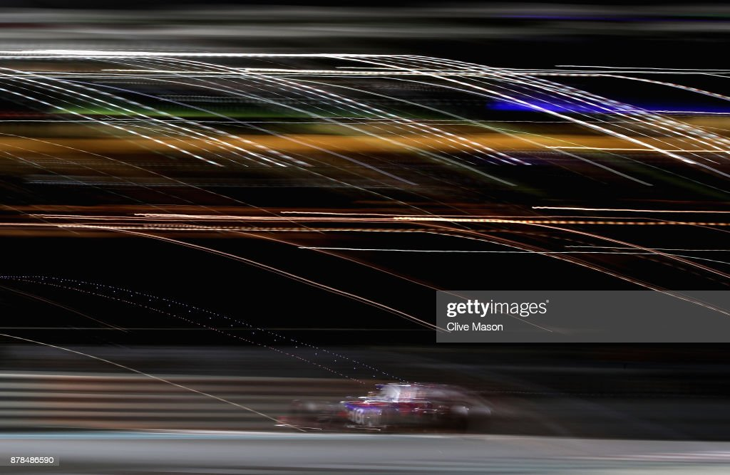 Brendon Hartley of New Zealand driving the (28) Scuderia Toro Rosso STR12 on track during practice for the Abu Dhabi Formula One Grand Prix at Yas Marina Circuit on November 24, 2017 in Abu Dhabi, United Arab Emirates.