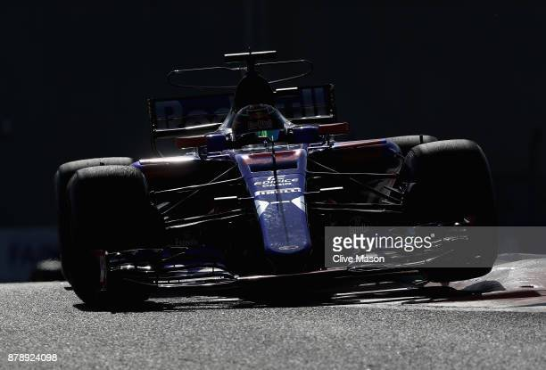 Brendon Hartley of New Zealand driving the Scuderia Toro Rosso STR12 on track during final practice for the Abu Dhabi Formula One Grand Prix at Yas...
