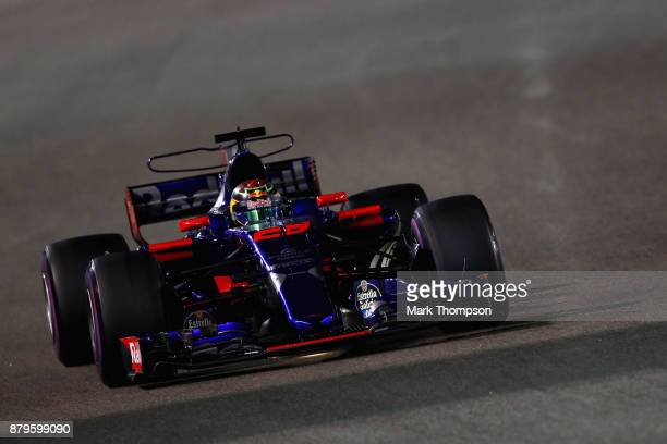 Brendon Hartley of New Zealand driving the Scuderia Toro Rosso STR12 on track during the Abu Dhabi Formula One Grand Prix at Yas Marina Circuit on...