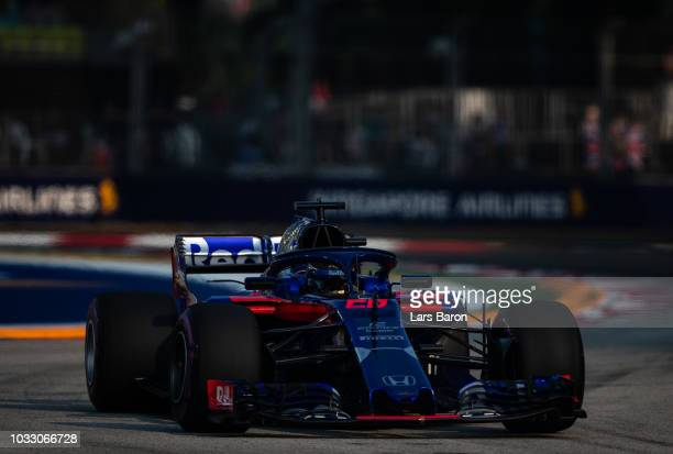 Brendon Hartley of New Zealand driving the Scuderia Toro Rosso STR13 Honda on track during practice for the Formula One Grand Prix of Singapore at...