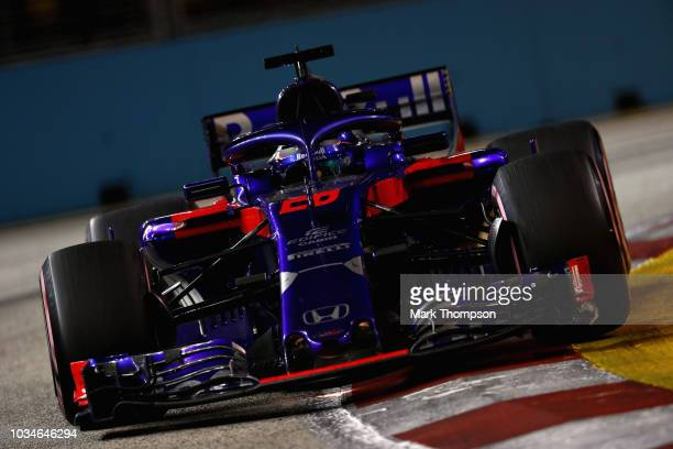 Brendon Hartley of New Zealand driving the Scuderia Toro Rosso STR13 Honda on track during the Formula One Grand Prix of Singapore at Marina Bay...