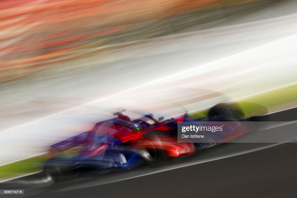 Brendon Hartley of New Zealand driving the (28) Scuderia Toro Rosso STR13 Honda on track during day four of F1 Winter Testing at Circuit de Catalunya on March 9, 2018 in Montmelo, Spain.