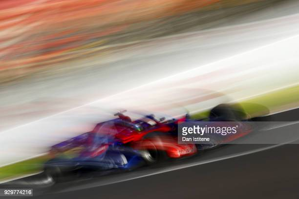 Brendon Hartley of New Zealand driving the Scuderia Toro Rosso STR13 Honda on track during day four of F1 Winter Testing at Circuit de Catalunya on...